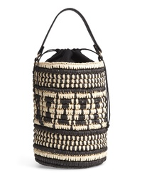 Black Straw Bucket Bag