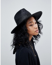 Brixton Macy Fedora In Black With Beaded Detail
