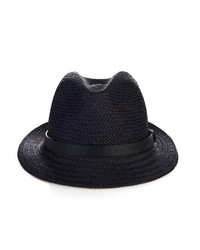 Gucci Straw Fedora And Leather Trilby