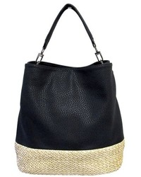 Black Straw Tote Bag