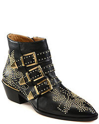 Black Studded Leather Ankle Boots