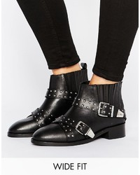 Asos Ashes Wide Fit Studded Leather Ankle Boots