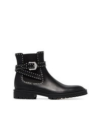 Givenchy Black Elegant Studded Leather Ankle Boots