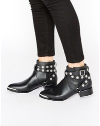 Danny black leather studded tipped ankle boots medium 823399