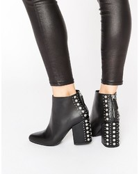 Senso Jescinta I Black Leather Studded Heel Ankle Boots