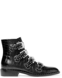 Studded ankle boots in black croc effect glossed leather medium 811074