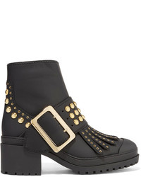Burberry Studded Coated Leather Ankle Boots Black