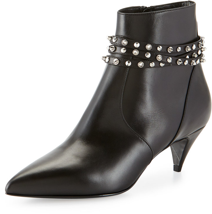 Saint Laurent Studded Strap Ankle Boot 8d02e2d92a3b