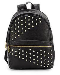 Black Studded Leather Backpack