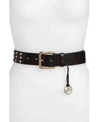 MICHAEL Michael Kors Michl Michl Kors Rhinestone Studded Leather Belt Black X Large