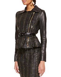 Long sleeve studded leather jacket black medium 76577