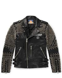 Blackmeans Studded Logo Print Leather Biker Jacket