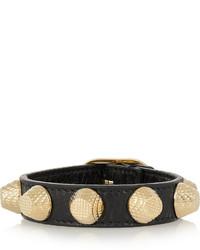 Balenciaga Giant Textured Leather And Gold Tone Bracelet Black