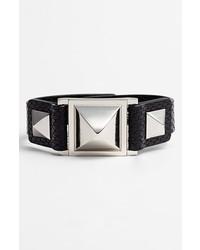 Vince Camuto Pyramid Studded Leather Bracelet Black Caviar Silver