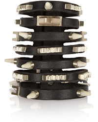 Rick Owens Studded Bone And Leather Cuff