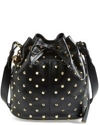 Black Studded Leather Bucket Bag