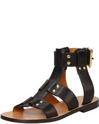 Black Studded Leather Flat Sandals