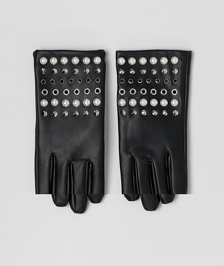 ASOS DESIGN Leather Look Gloves With Pearl And Stud Detail