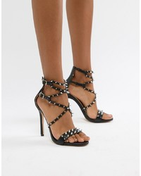 Public Desire Amore Black Studded Heeled Sandal Pu