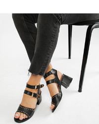 Lost Ink Wide Fit Black Western Studded Heeled Sandals