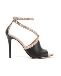 Valentino Garavani The Rockstud Two Tone Leather Sandals