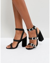 RAID Joy Black Western Detail Heeled Sandals