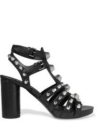 Balenciaga Studded Textured Leather Sandals Black