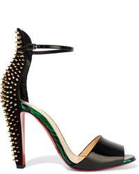 Christian Louboutin Tropanita 100 Spiked Patent Leather Sandals Black