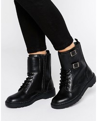 Black Studded Leather Lace-up Flat Boots