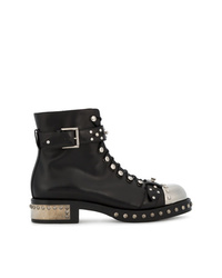 Alexander McQueen Black Studded Leather Ankle Boots