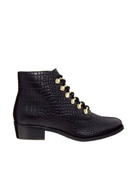 Bronx Lace Up Flat Black Ankle Boots