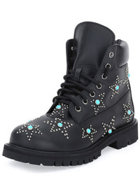 Valentino Star Studded Leather Combat Boot Black