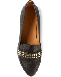 Black Studded Leather Loafers