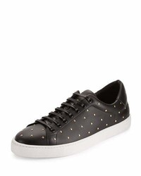 Black Studded Leather Low Top Sneakers