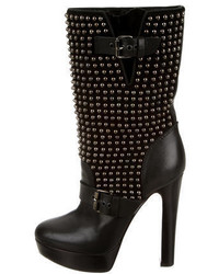 Black Studded Leather Mid-Calf Boots