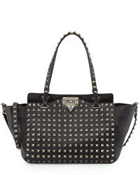 Black Studded Leather Tote Bag