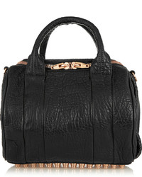 Rockie textured leather tote black medium 533045