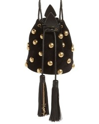 Black Studded Suede Bucket Bag