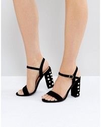 Fairview black suede pearl detail heeled sandals medium 6727358