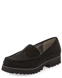 Black Studded Suede Loafers