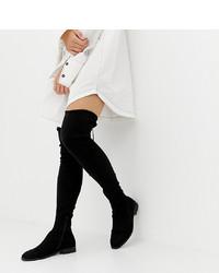 ASOS DESIGN Petite Kaska Flat Studded Thigh High Boots