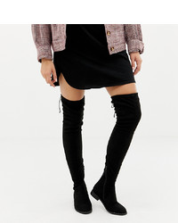 ASOS DESIGN Wide Fit Extra Wide Leg Kaska Flat Studded Over The Knee Boots