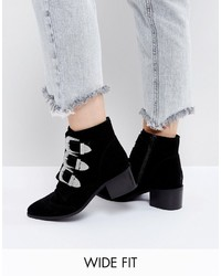 Asos Relieve Wide Fit Suede Buckle Ankle Boots