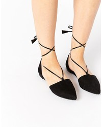 Asos Collection Lift Off Pointed Lace Up Ballet Flats