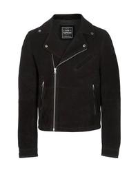 Topman Black Suede Biker Jacket