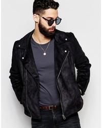 Asos Brand Faux Suede Biker Jacket In Black