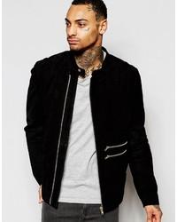 Asos Brand Suede Biker Jacket In Black