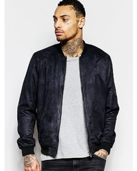 Asos Brand Faux Suede Bomber Jacket In Black