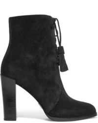 Michael Kors Michl Kors Collection Odile Leather Trimmed Suede Boots Black