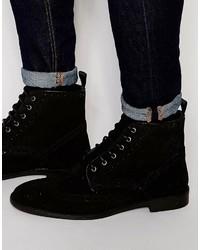 Asos Brogue Boots In Black Suede